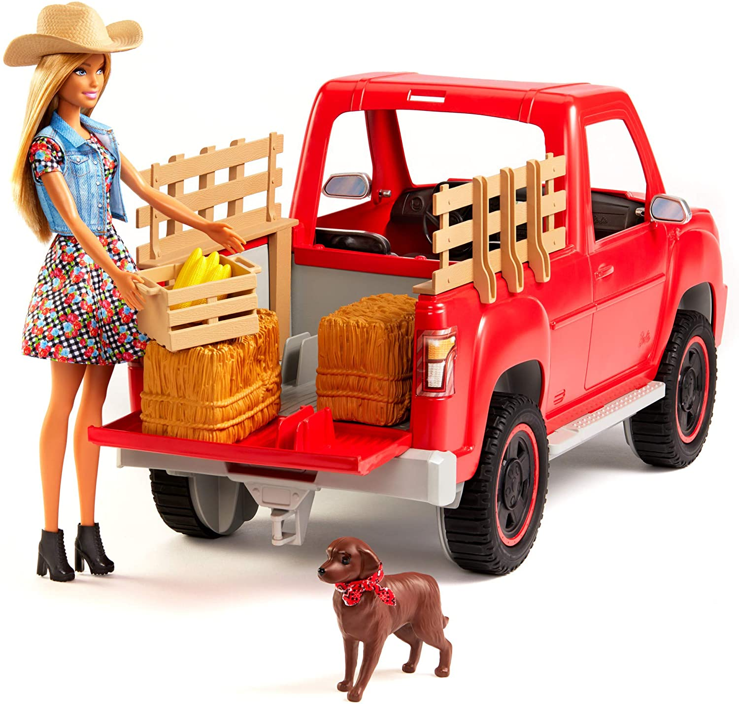 Barbie Sweet Orchard Farm Truck and Doll with Pet Dog, Hay and Crate of Corn, Gift for 3 to 8 Year Olds