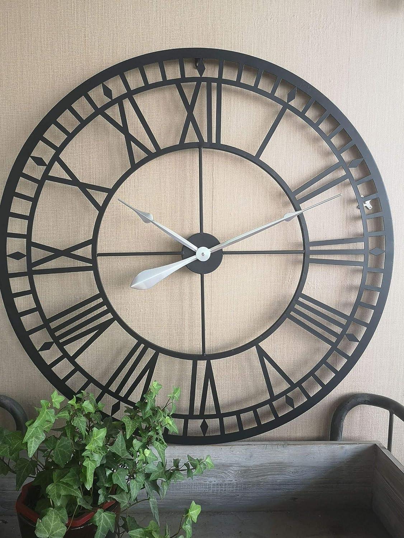 LXP Reloj De Pared De Hierro Negro Reloj Creativo De Metal Vintage Aguja de Plata de embrión Negro de 80 cm