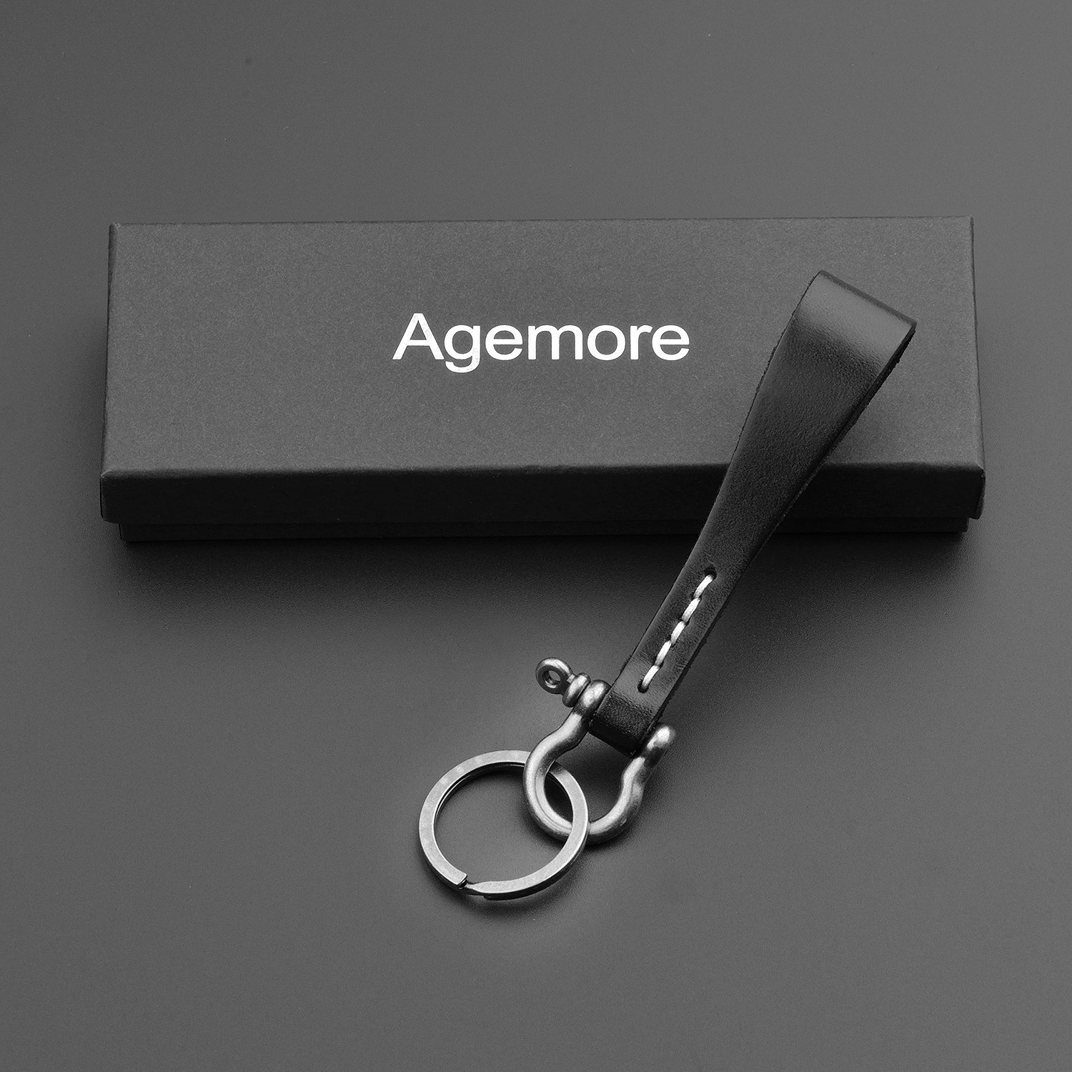 Leather KeyChain Leather Key Ring Black Cowhide Smooth Soft Classic Key Chain Fob for Man and Women By Agemore
