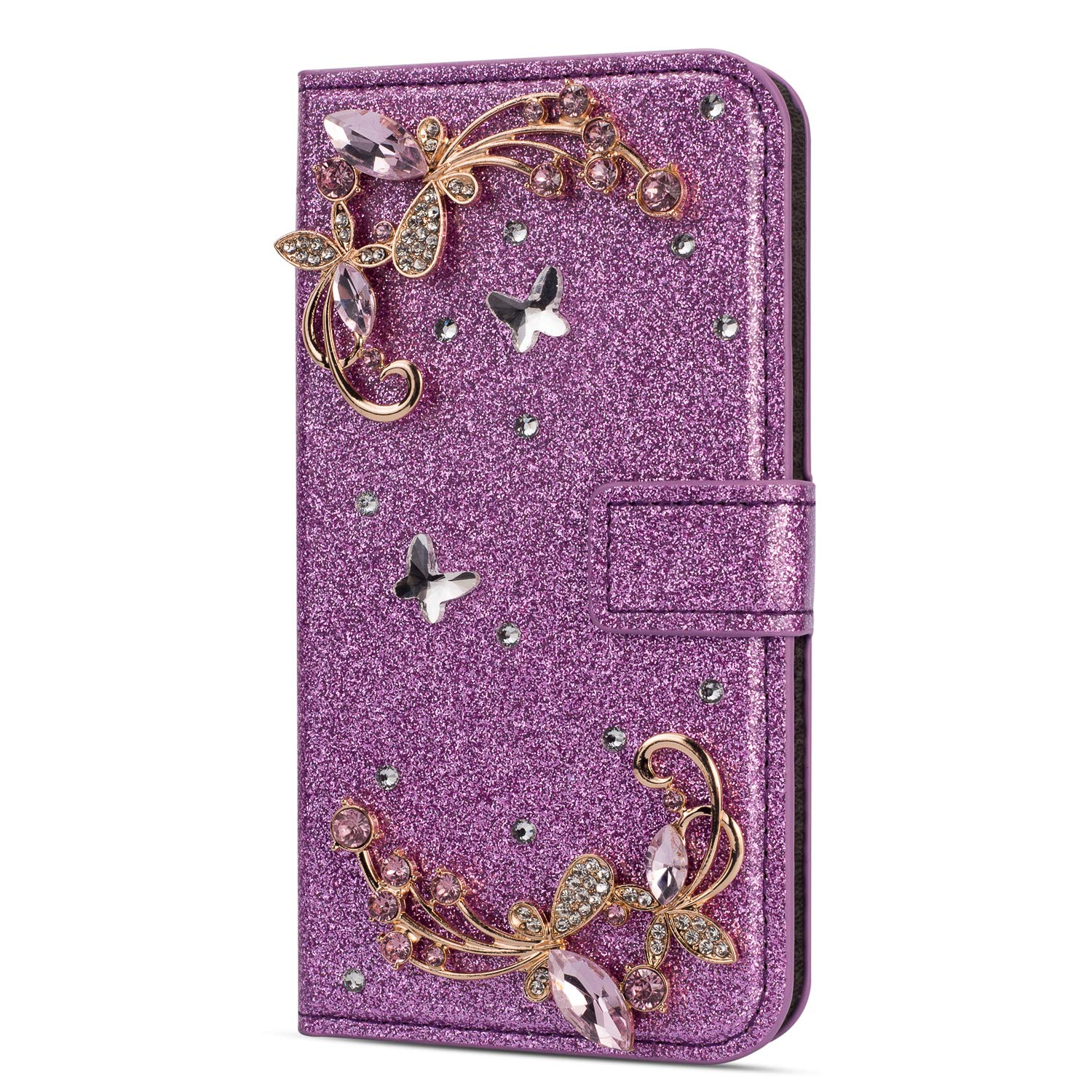 Amocase Glitter Case with 2 in 1 Stylus for iPhone SE,Luxury Diamond 3D Crystal Butterfly Flower Magnetic Wallet Soft PU Leather Stand Shockproof Case for iPhone SE/5/5S - Purple