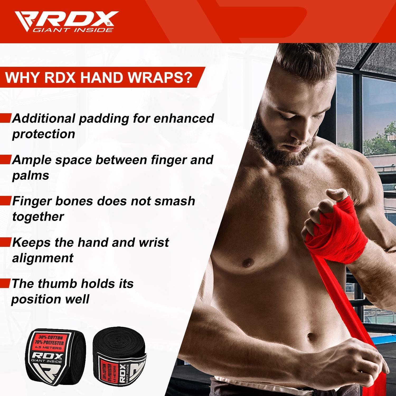 RDX Cinta Boxeo Vendas Elástico Mano Muñeca MMA 4,5 Metros Envolturas Vendaje Kick Boxing: Amazon.es: Deportes y aire libre