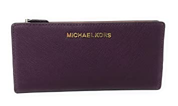 9b027f022e67 Image Unavailable. Image not available for. Color: Michael Kors Jet Set  Travel Large Card Case Carryall Leather Wallet in Damson Multi