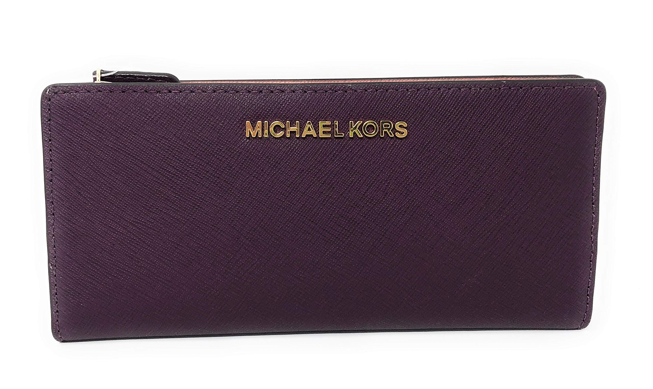 Michael Kors Jet Set Travel Large Card Case Carryall Leather Wallet in Damson Multi