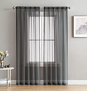 HLC.ME Charcoal Grey Sheer Voile Window Treatment Rod Pocket Curtain Panels for Bedroom and Small Windows (54 x 63 inches Long, Set of 2)