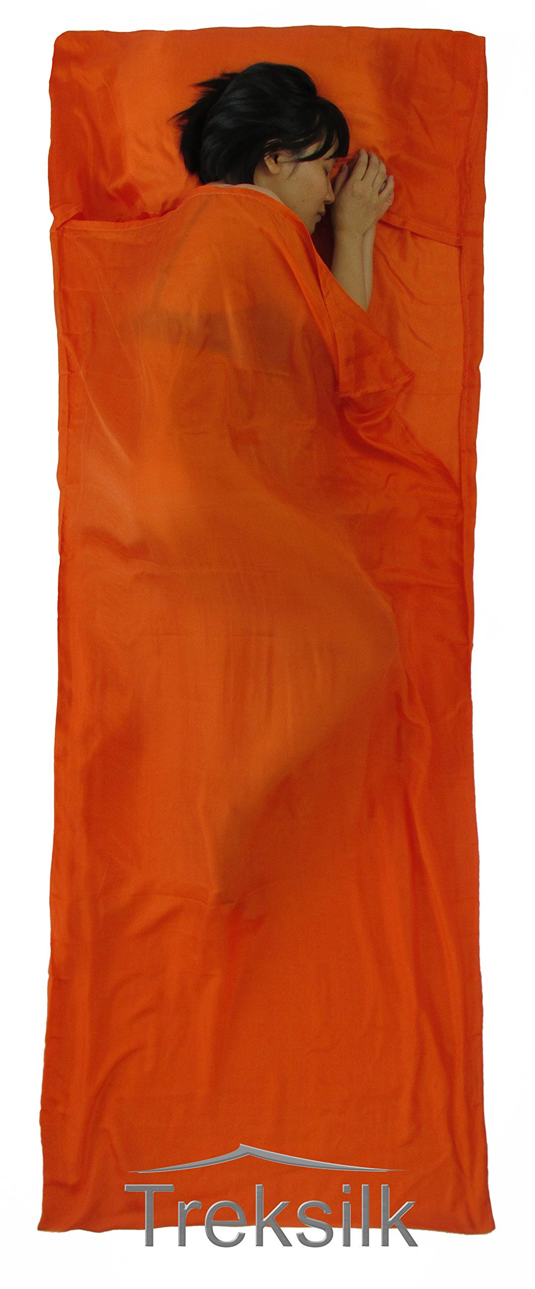 Treksilk: 240 cm! 100% Mulberry Silk Single Sleeping Bag Liner Travel Sheet Sack (Orange) by Treksilk