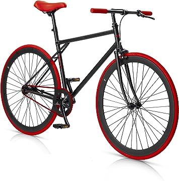 MBM Moonlight - Bicicleta para Hombre sin Cambios, Hombre, Unit, Negro/Rojo: Amazon.es: Deportes y aire libre