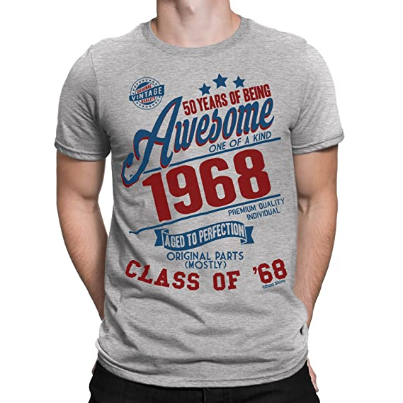 50 Years Of Being AWESOME Hombres 50th Camiseta Class of 1968 Regalo di compleanno da Buzz Shirts cyttSD