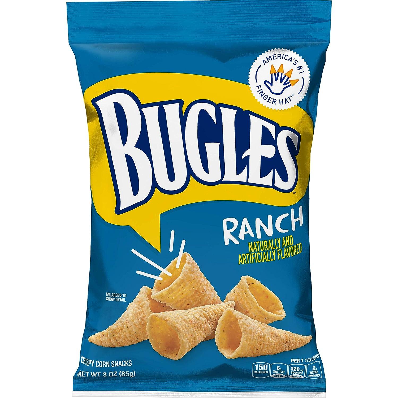 Bugles Corn Snacks, Ranch, 3 Oz (Pack of 6)