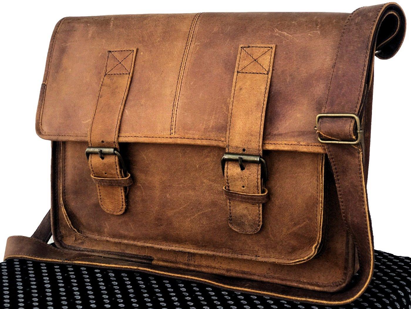 AOL Genuine Leather Bag 15'' Vintage Buffalo Messenger Satchel Laptop Briefcase Unisex Bags Crazy Briefcase Bags For Men Women