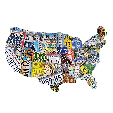 Us Map Made Out Of License Plates.Amazon Com Usa License Plate Map 1000 Piece Jigsaw Puzzle In The