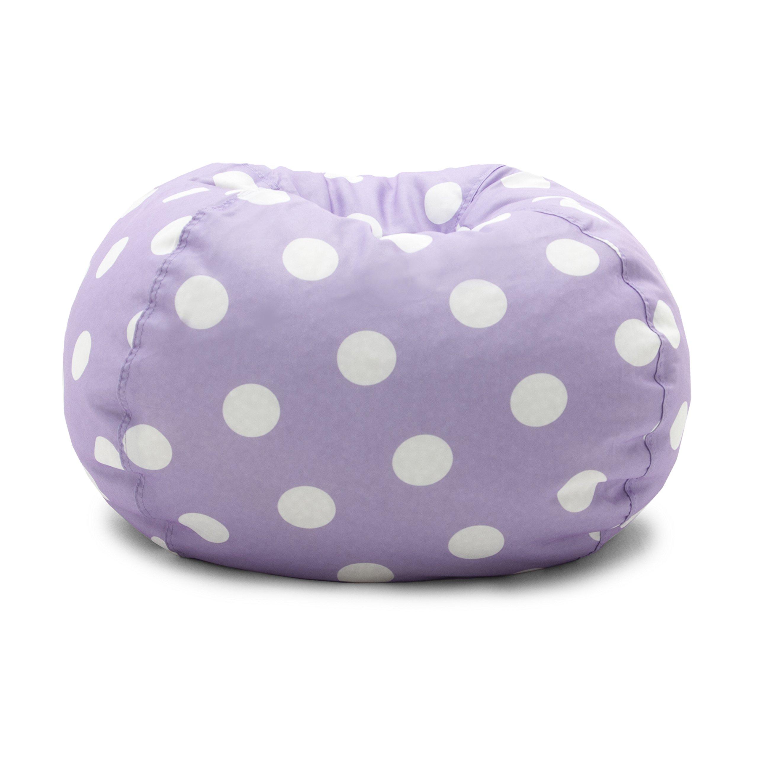 Big Joe 0630252 Lavender Polka Dot Classic Bean Bag Chair, Lavendar with White by Big Joe