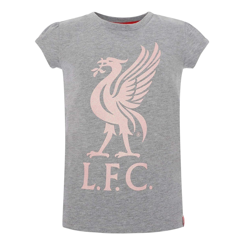 Liverpool FC Grey Marl Short Sleeve Girl Soccer Glitter Liverbird Jersey AW19 LFC Official