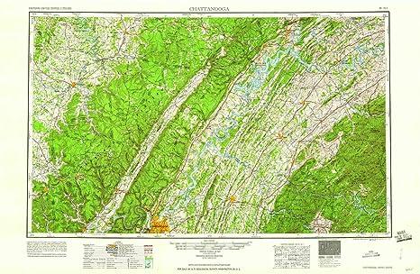 Amazon.com : YellowMaps Chattanooga TN topo map, 1:250000 Scale, 1 X ...