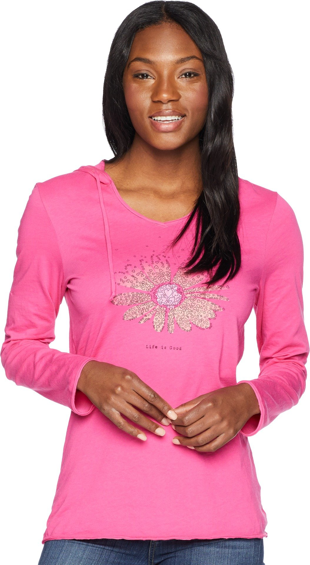 Life is Good Womens Hooded Smooth Longsleeve tee Daisy Love, Fiesta Pink, Large by Life is Good (Image #1)