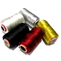 Goelx Silk Thread Spools for Wrapping Shiny Bright 5 Colours - Gold, Deep Red,Silver,White and Black