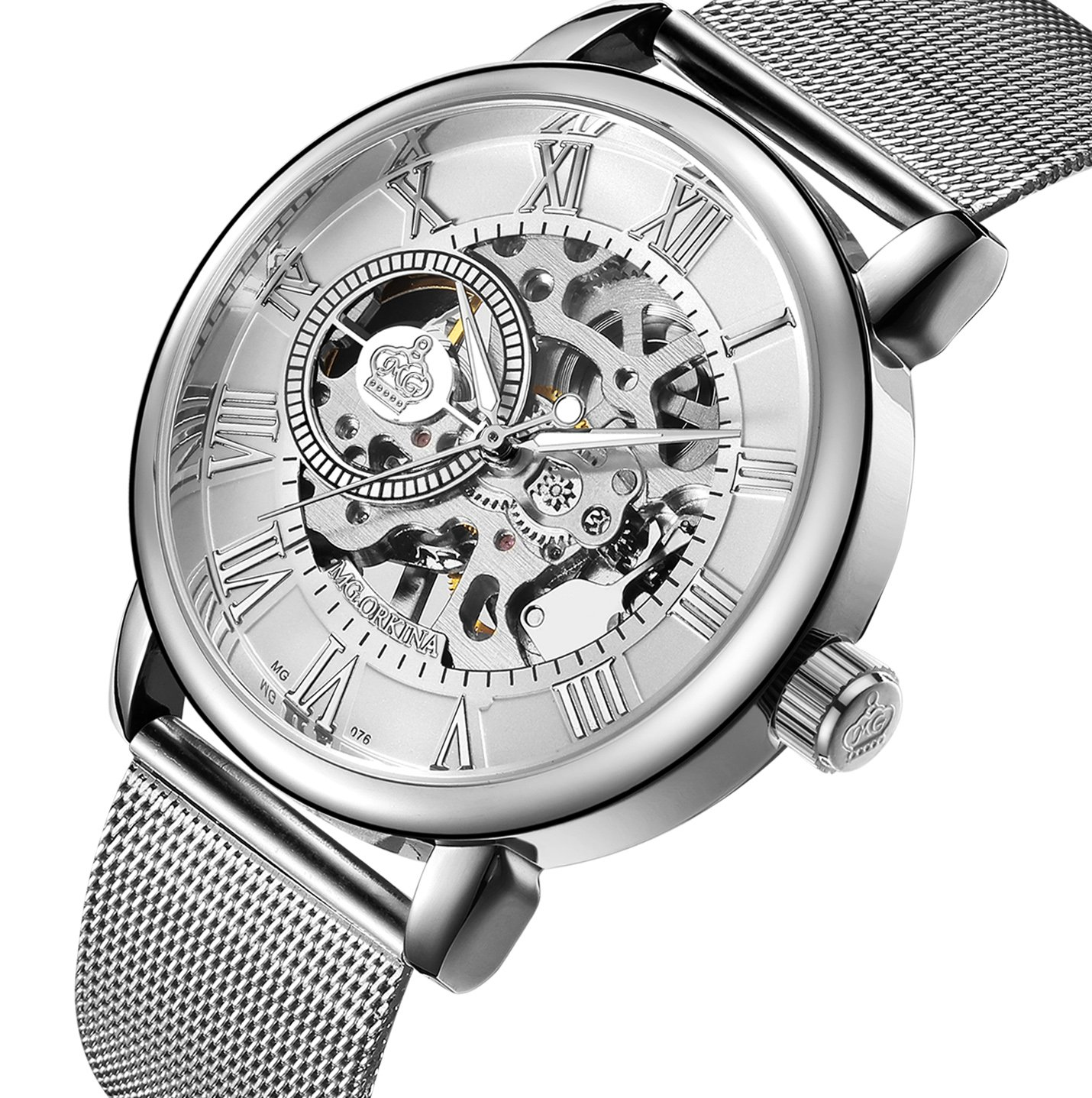 Sweetbless Wristwatch Men's Royal Classic Roman Index Hand-wind Mechanical Watch (silver-white) by Sweetbless
