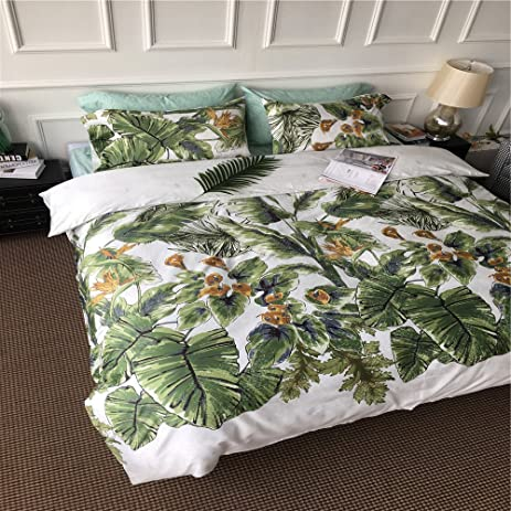 Very Amazon.com: EsyDream 100% Cotton Green Tropical Leaves Duvet Cover  XK29