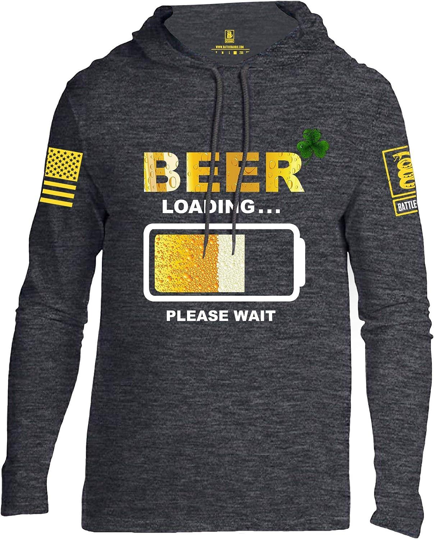 Battleraddle Beer Loading Please Wait Yellow Sleeve Print Mens Thin Cotton Lightweight Hoodie