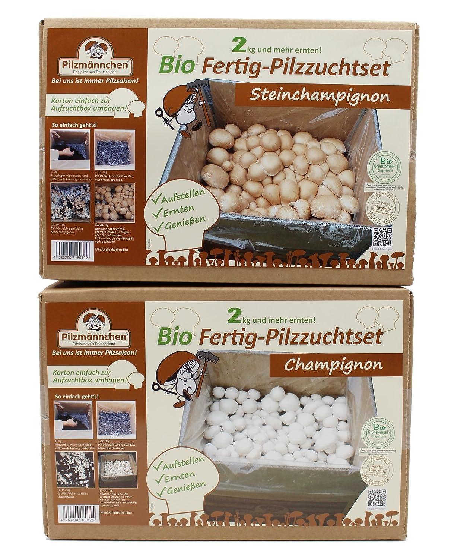 Bio Champignon-Pilzzucht Set, 1x Steinchampignon und 1x weisse Champignos Pilzmaennchen