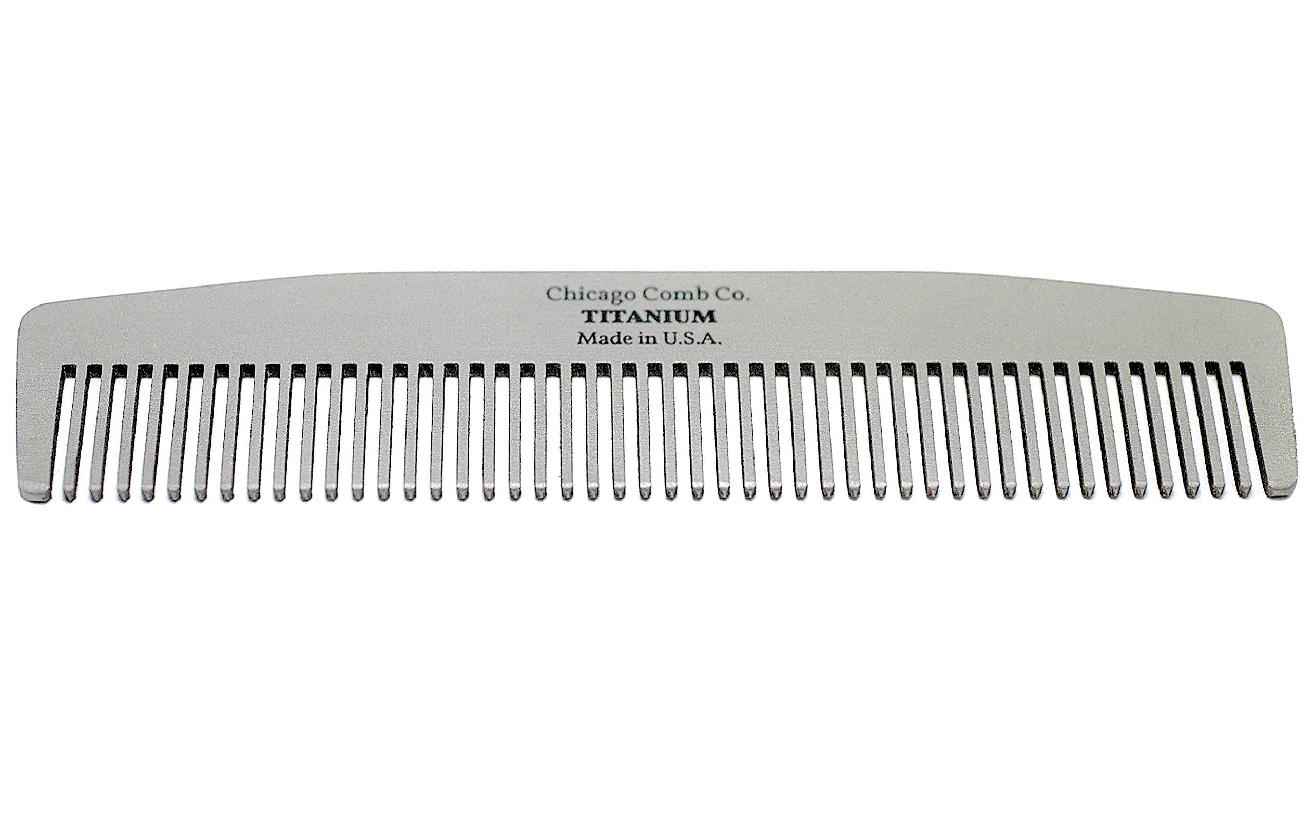 Chicago Comb Model No. 3 Titanium, Made in USA, Ultra-Smooth, Strong, Light, Anti-Static, 5.5 in. (14 cm) Long, Medium-Fine Tines, Ultimate Daily Use, Pocket, Travel Comb, Pure American Titanium