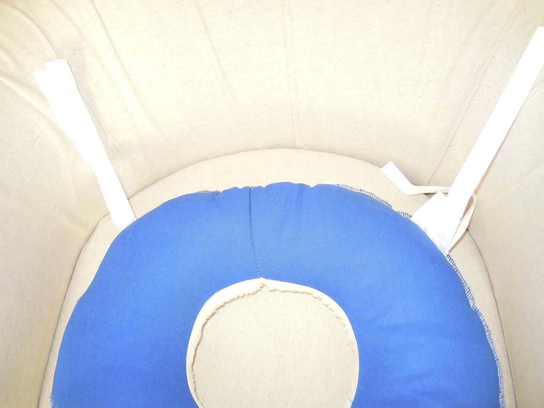 ORTONES | Cojín Antiescaras Redondo con agujero para Silla de Ruedas o Asiento | Color Azul y Blanco