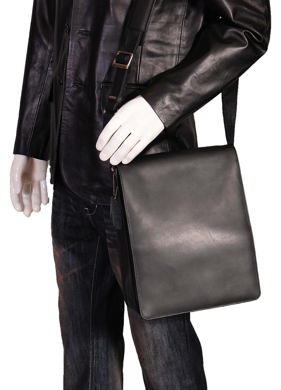 Gents Leather Messenger Shoulder Cross Body ipad Record Man Bag A41 Black