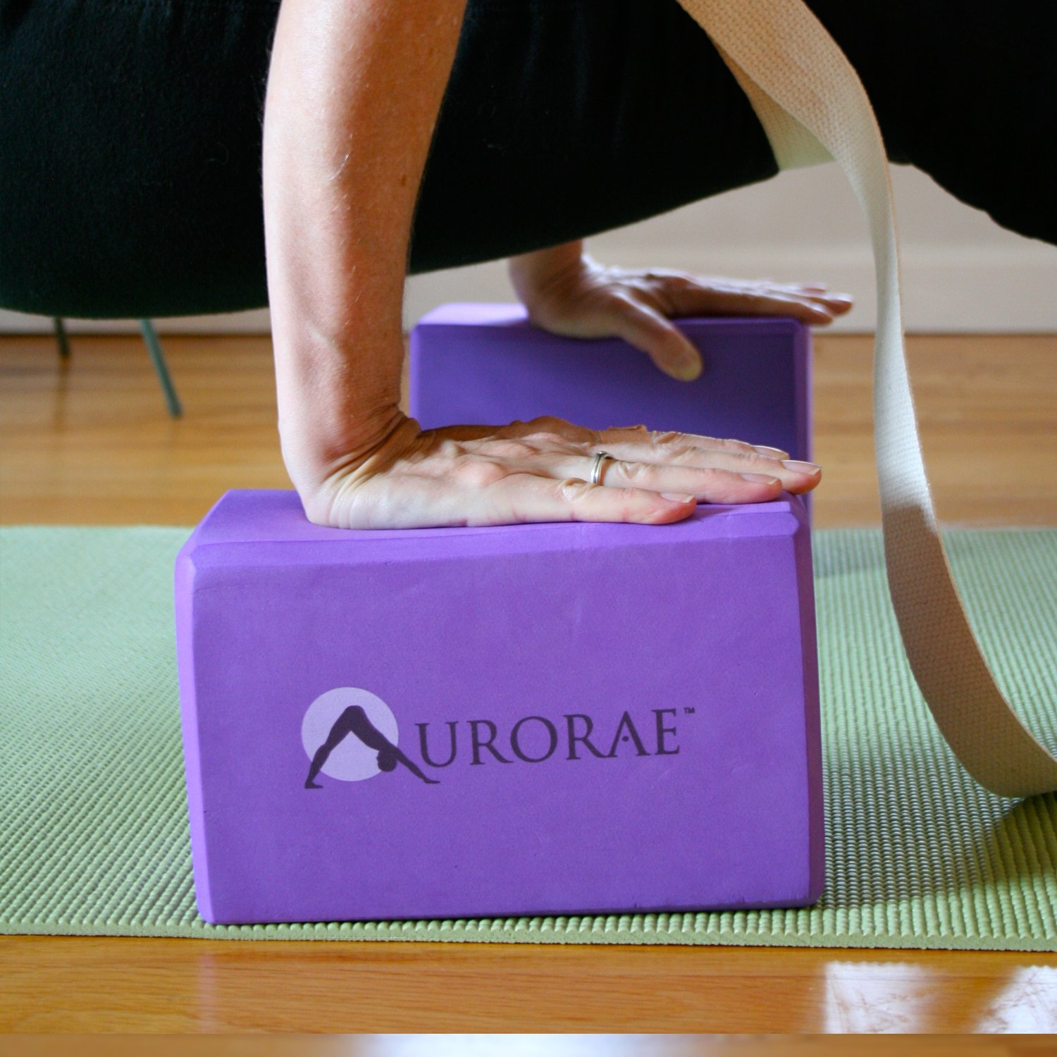Aurorae Yoga 3 Piece Bundle includes Yoga Block, Strap and Slip Free Rosin
