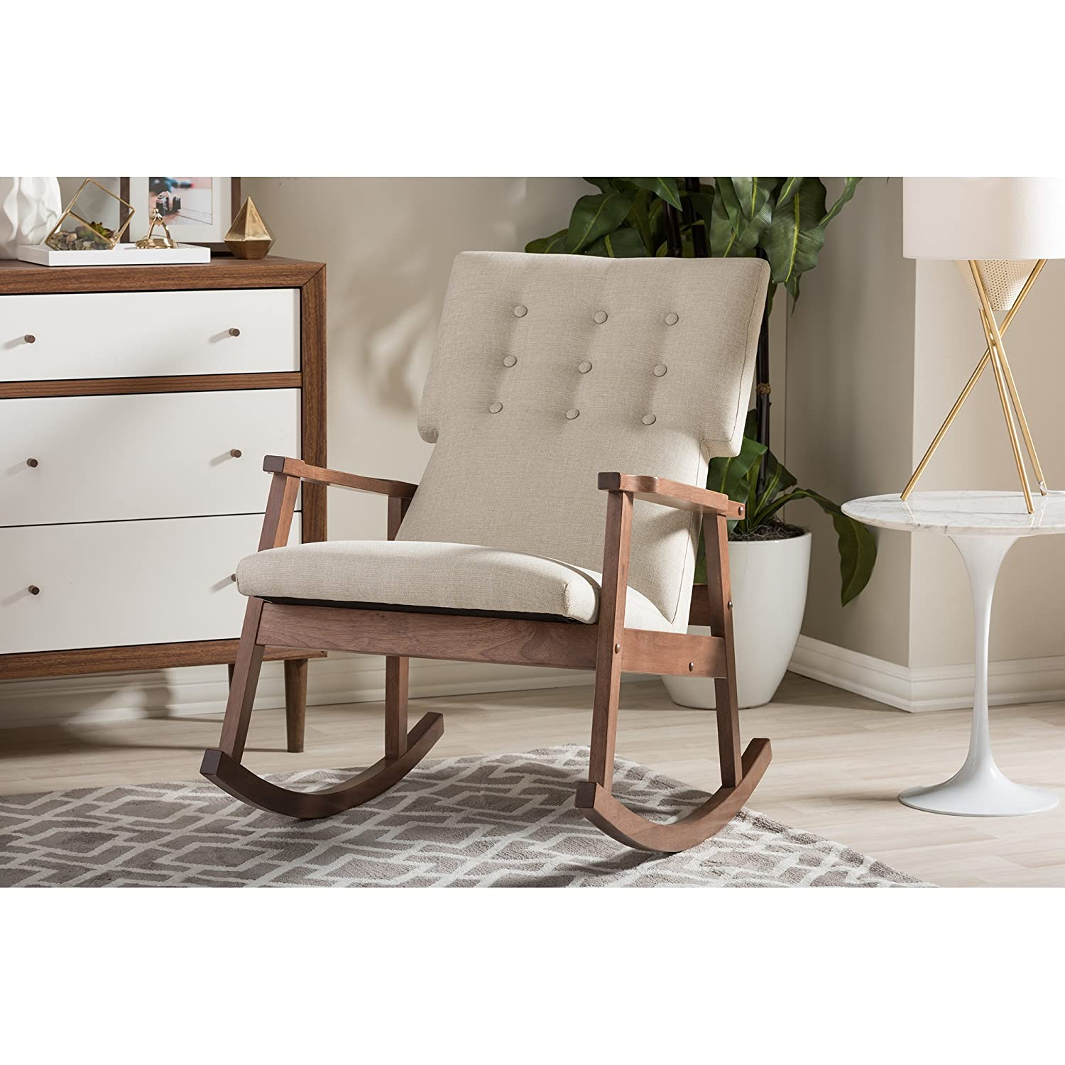 Amazon.com: Baxton Studio Agatha Mid Century Modern Fabric Upholstered  Button Tufted Rocking Chair, Light Beige: Kitchen U0026 Dining