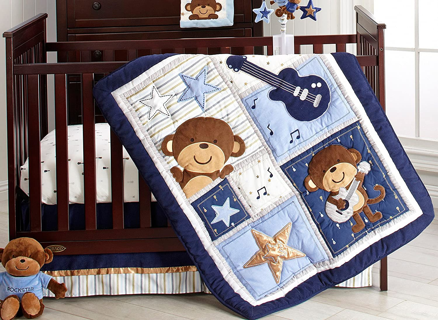 Monkey Collection Crib Set 4 Piece Baby Boy Nursery