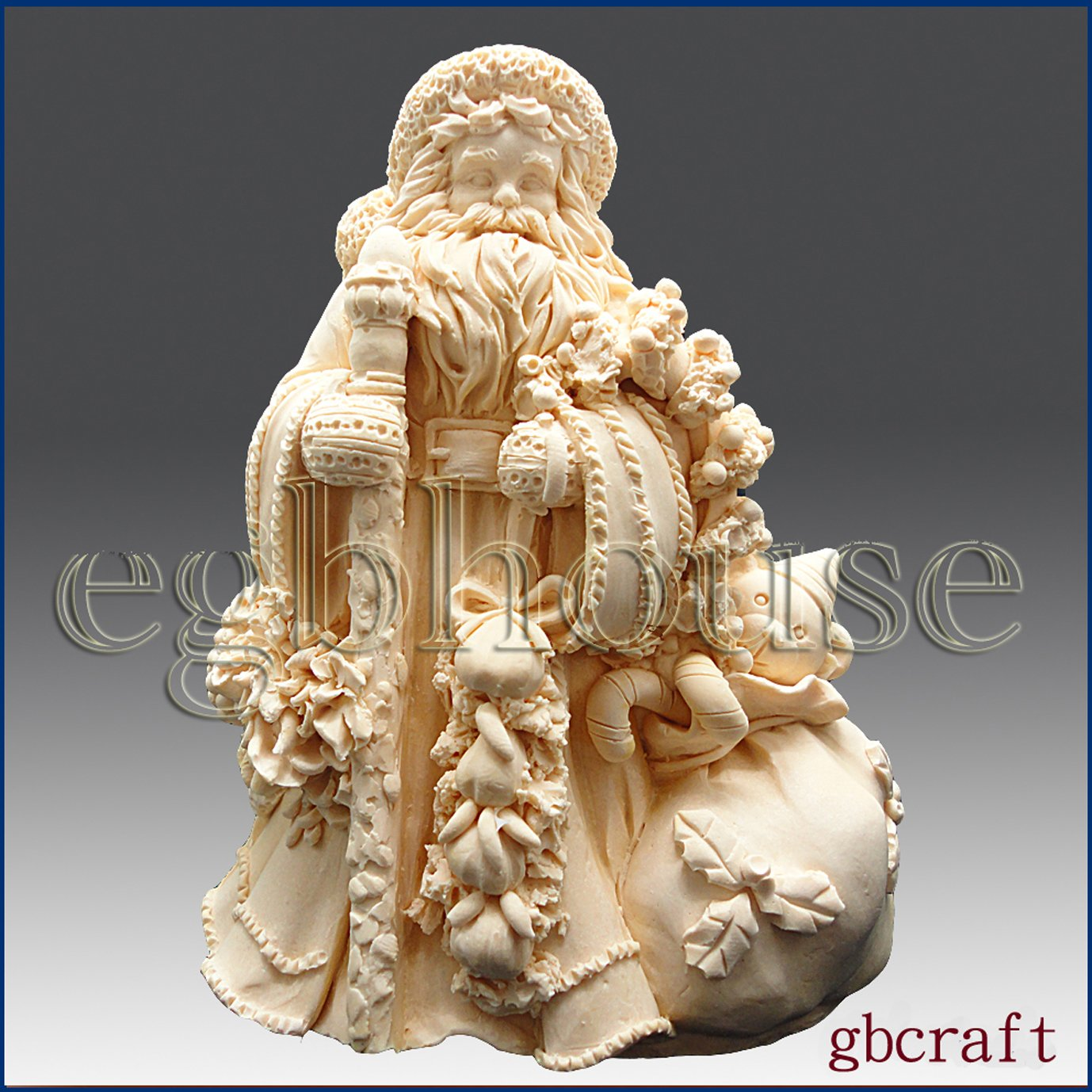 egbhouse, Classic Santa- 3d Silicone Soap/polymer/clay/cold Porcelain Mold
