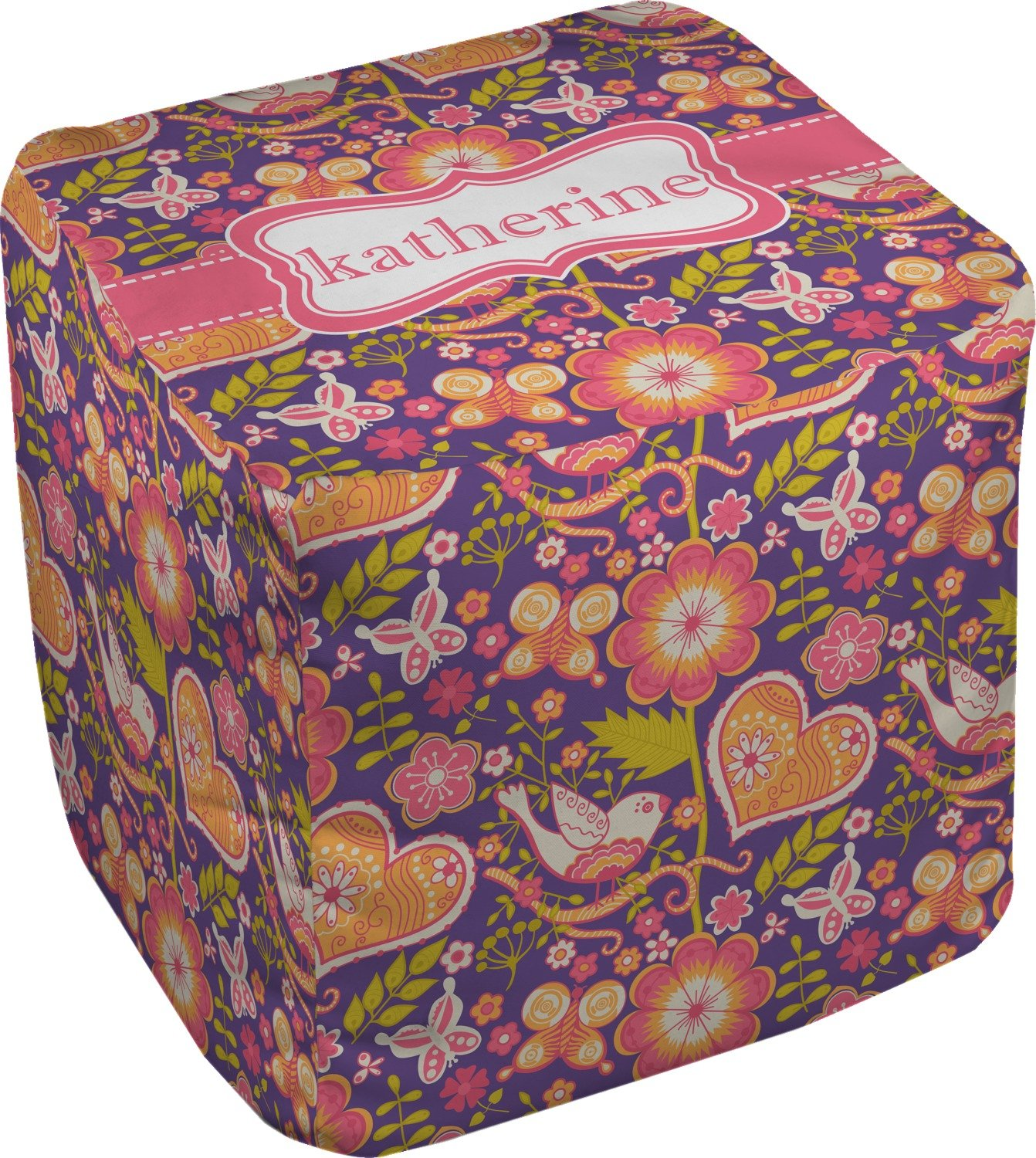 RNK Shops Birds & Hearts Cube Pouf Ottoman - 13'' (Personalized)