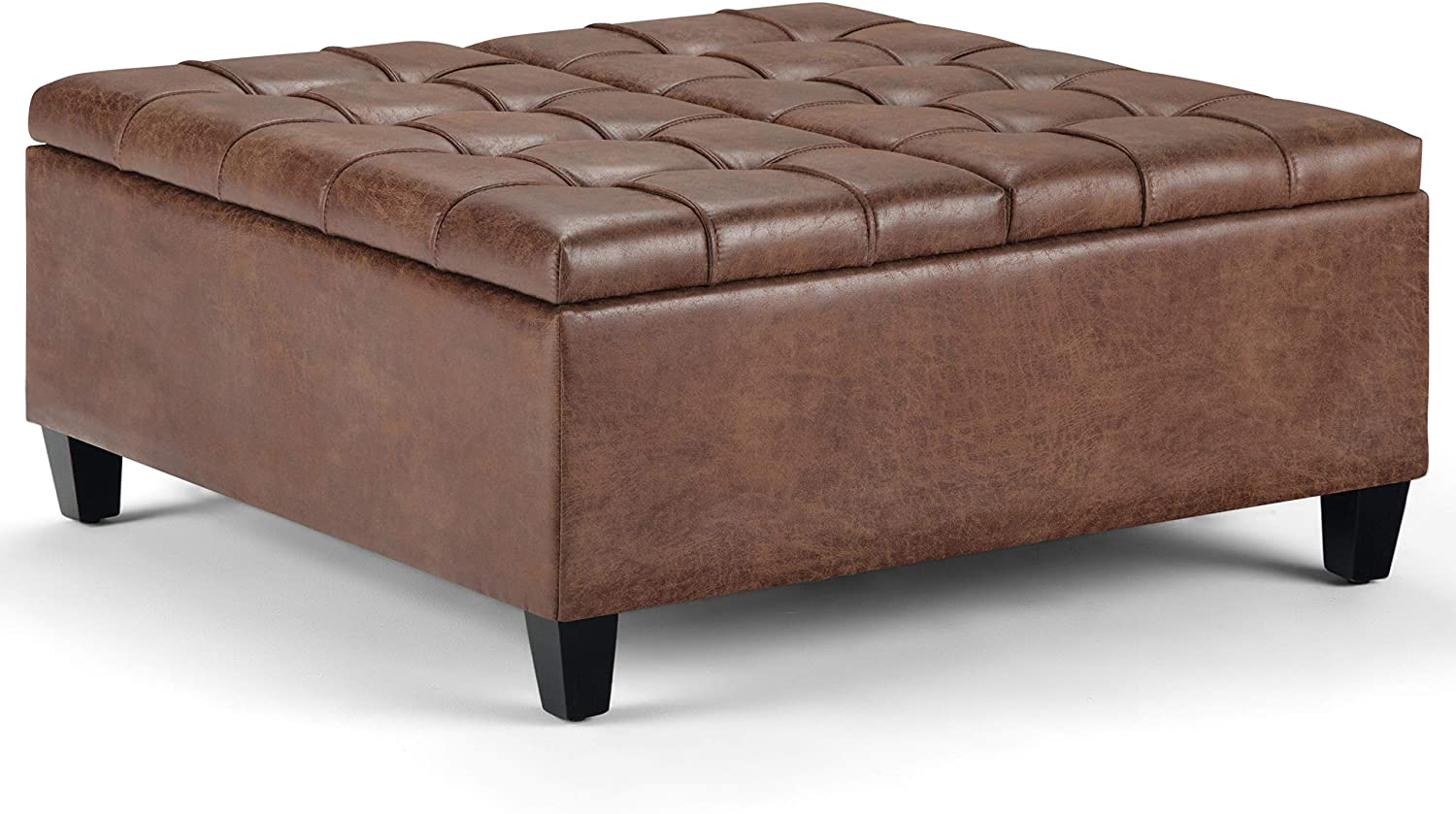 Simpli Home AXCOT-265-DUB Harrison 36 inch Wide Traditional Square Storage Ottoman in Distressed Umber Brown Faux Air Leather