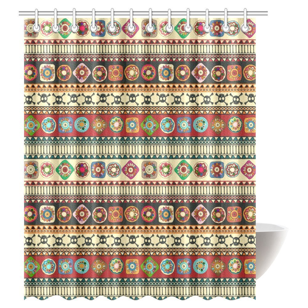 8a842b86ac Amazon.com: INTERESTPRINT Native American Shower Curtain, Geometric ...