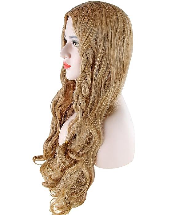 Discoball® Womens Light Blonde largo rizado peluca llena con Bang Cenicienta Fancy Cosplay Party Hair: Amazon.es: Belleza
