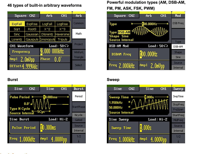 4,3/Zoll Umweltsignale Siglent SDG1025 Digital-Signalgenerator f/ür Analogsensoren 20/MHz Ausbildung IC-Tests Schaltungsfunktionstest 125/MSa//s Funktions-////Arbitrary Waveformgenerator