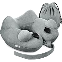 HOMPO Soft Velvet Inflatable Neck Support Travel Pillow (Gray & Blue)