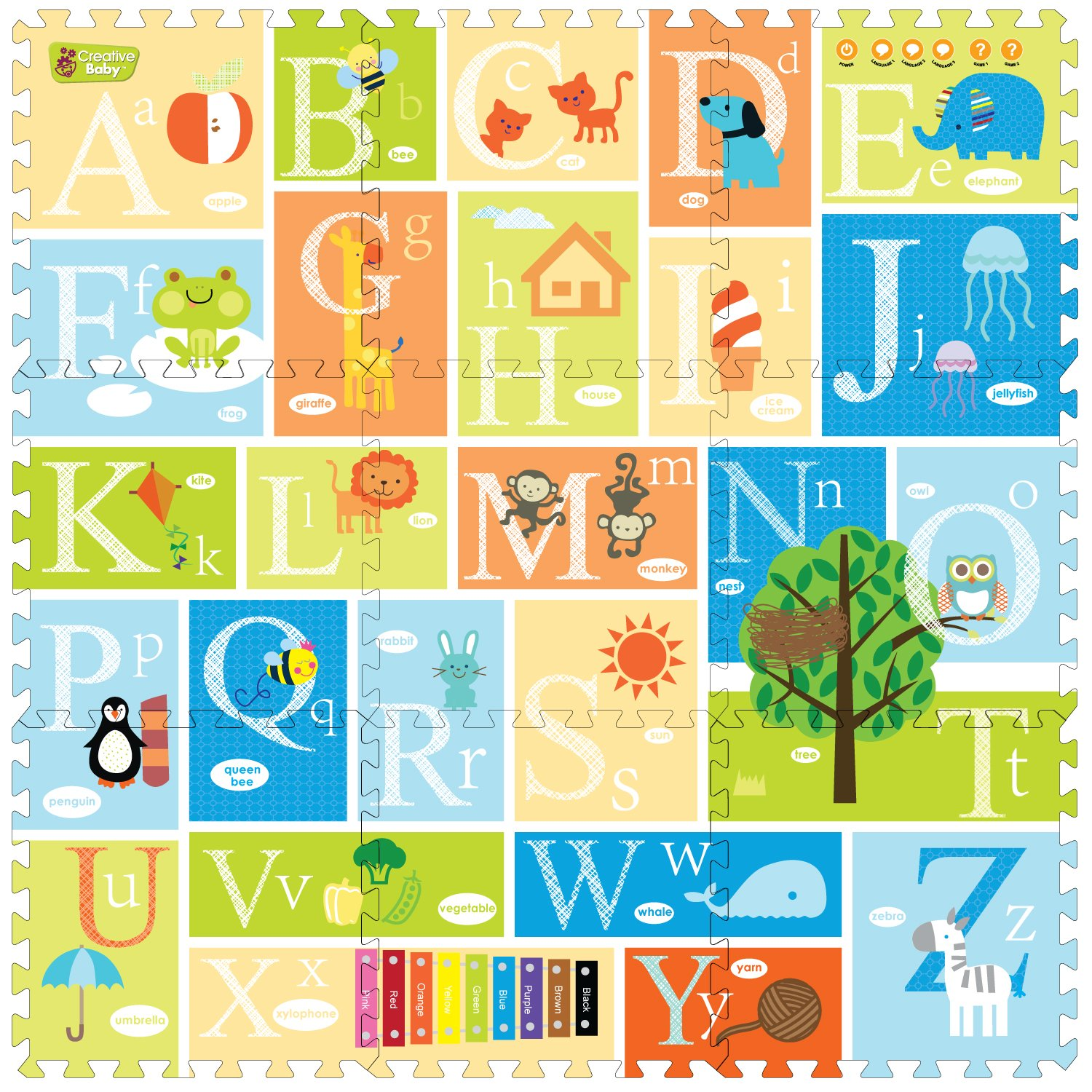 Creative Baby 9 Piece Interactive Playmat i-Mat, Alphabet by Creative Baby