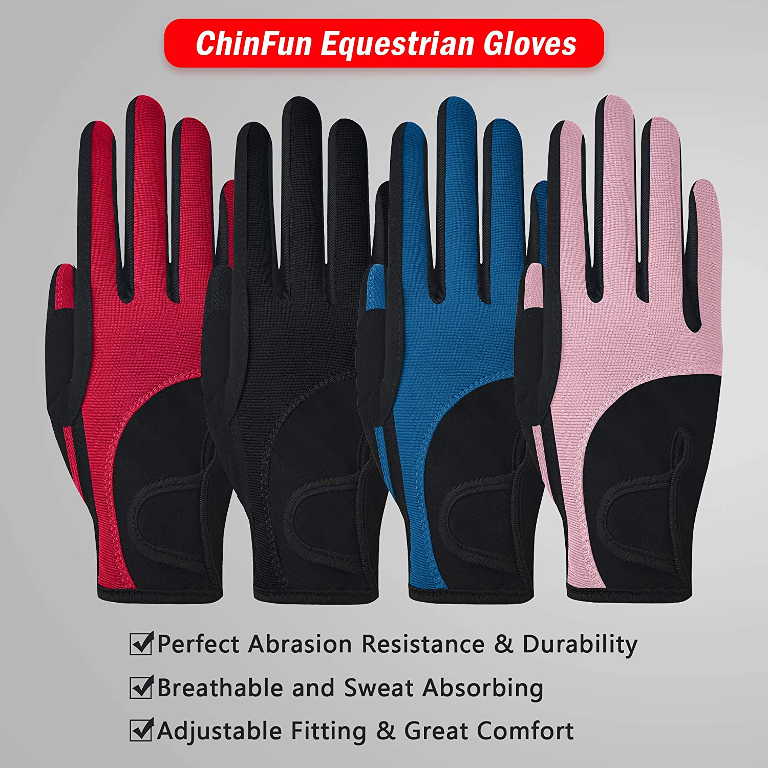 ChinFun Children Equestrian Gloves Color-Contrasted Kids Youth Boys Girls Gloves Shock-Absorbing Winter Riding Cycling Biking Skiing Horse Show Mittens