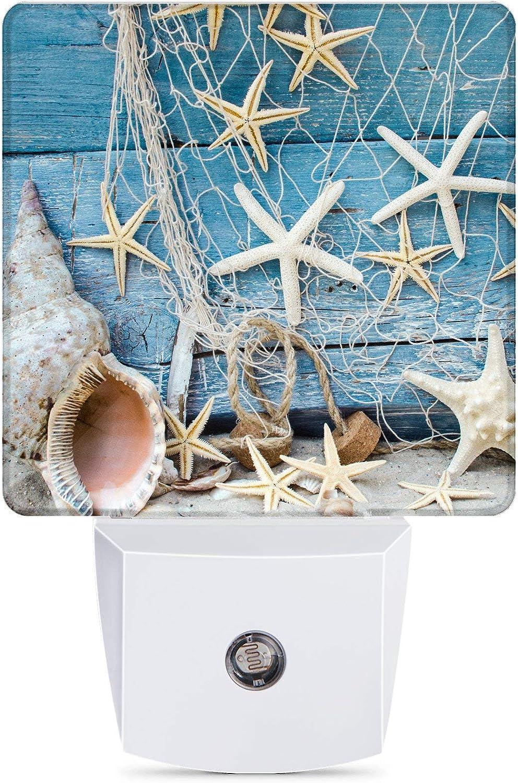 Starfish Seashells with Fishnet Plug-in Night Light Dusk to Dawn Smart Sensor Decor Led Nightlight for Bedroom Bathroom Kitchen Hallway Stairs Hallway Energy Efficient