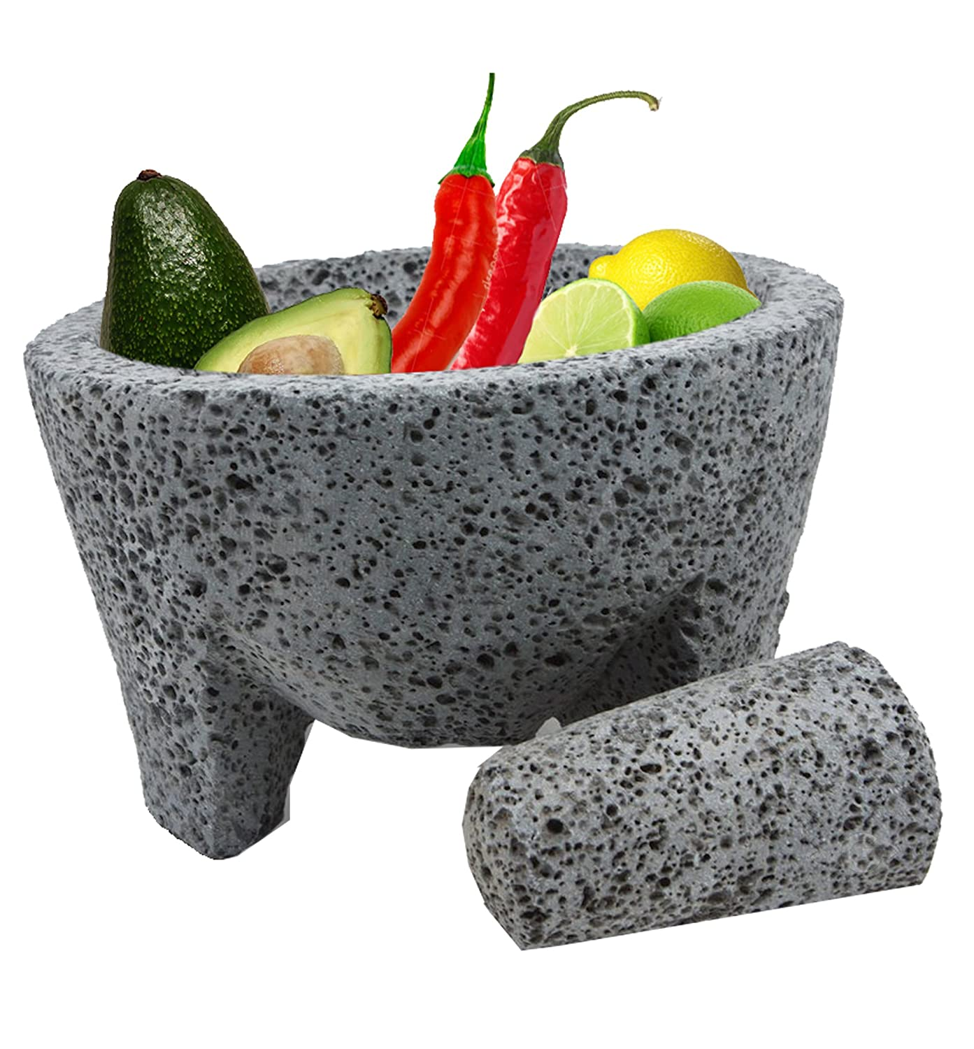 TLP Molcajete authentic Handmade Mexican Mortar and Pestle 8.5