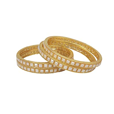 636aa90be R18Jewels fashion and U, Yellow Gold Color Glossy Pearl Design 4pc Bangle  Set For Womens