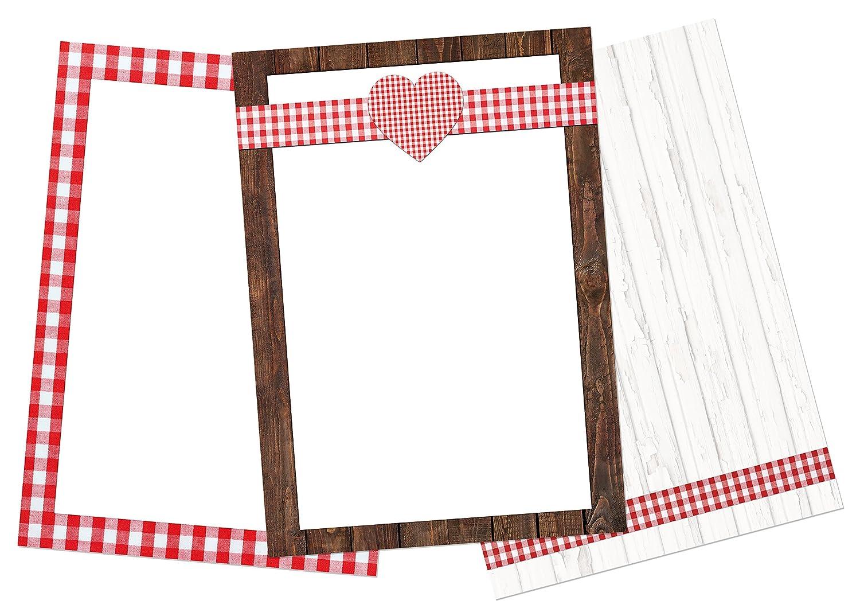 30 Blatt Briefpapier Druckerpapier rot wei/ß kariert HERZ HERZEN Holz-Optik Rahmen 3 Designs a 10 St/ück DIN A4 100g Schreibpapier Motiv-Papier Bastelpapier DIN A4 Brief-Bogen SET