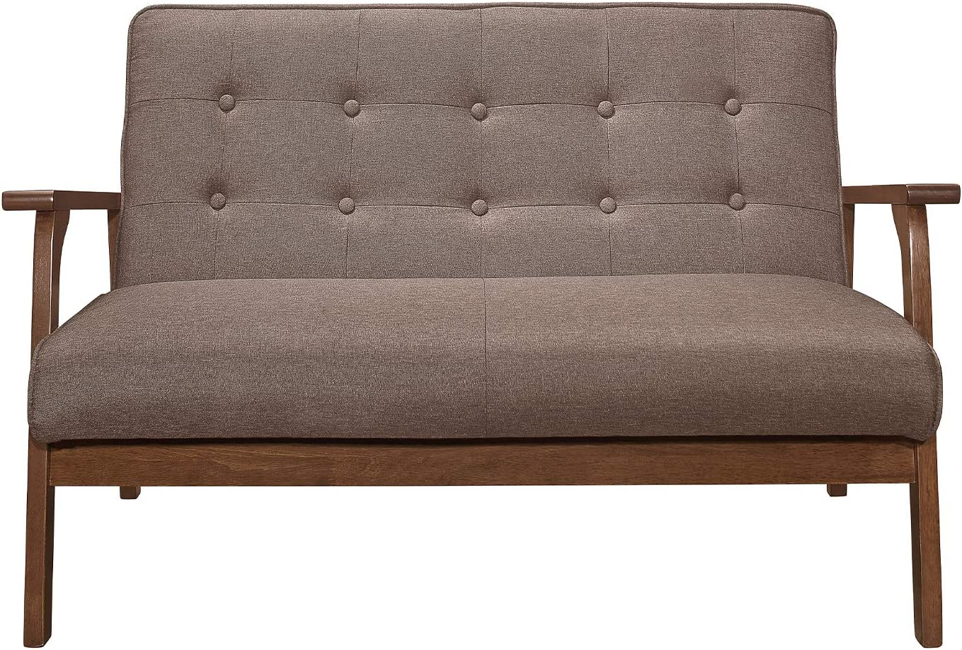 BoloShine Modern Solid Loveseat Sofa, Durable Wooden Sofa Upholstered Fabric with Sturdy Legs, Comfortable Mini Couch Ideal for Liviing Room, Bedroom (Brown)