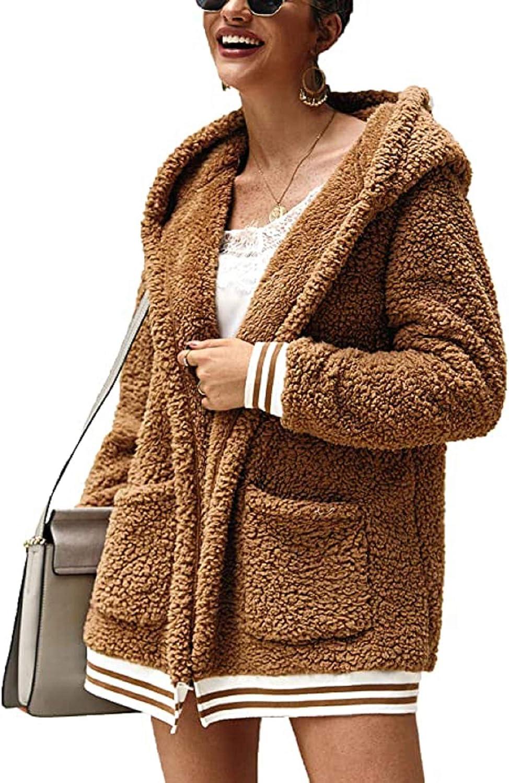 trudge Donna Cappotto Felpa Lunghi Pelliccia Sintetica Giacca Peluche Casual Cardigan Caldo Inverno Cappotti con Cappuccio