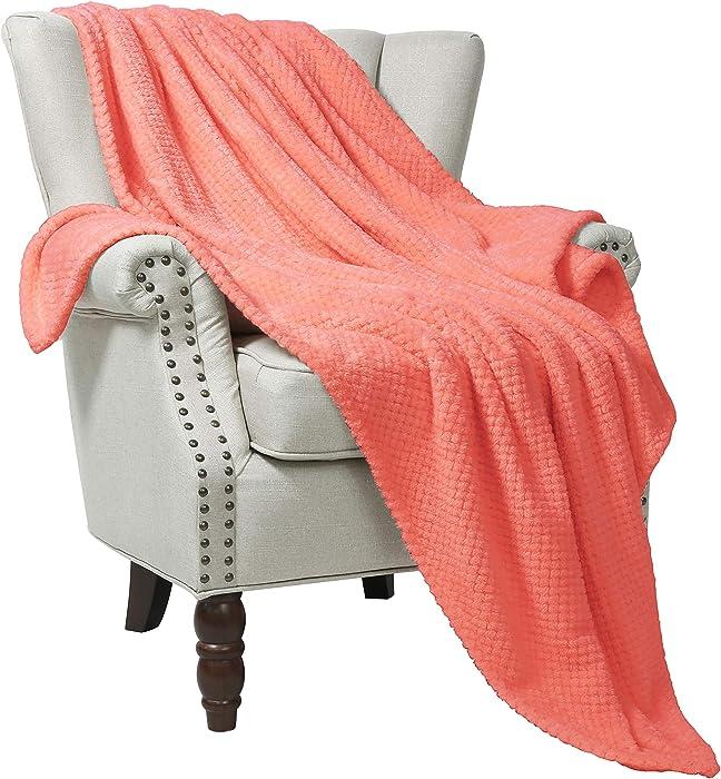 "Exclusivo Mezcla Waffle Flannel Fleece Large Throw Blanket(50"" x 70"", Coral)- Soft, Lightweight, Plush& Warm"