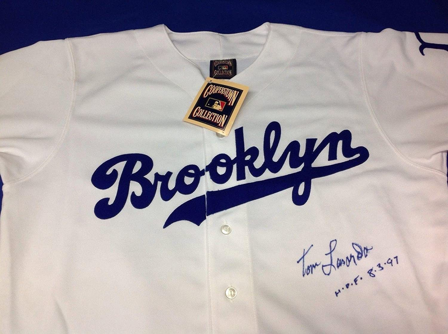 pretty nice 68b16 90ef8 Tommy Lasorda Signed Brooklyn Dodgers Cooperstown Jersey