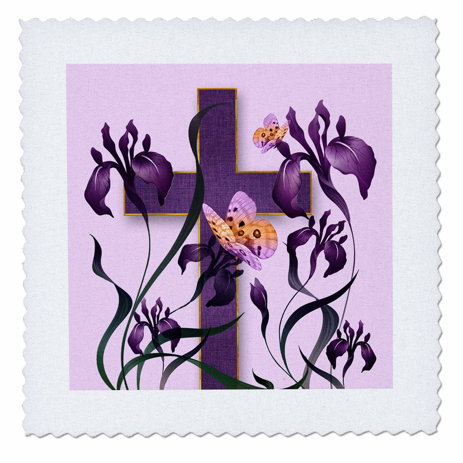 3dRose Doreen Erhardt Inspirational - Purple Iris Flowers with a Christian Cross and Butterflies - 22x22 inch quilt square (qs_266786_9)