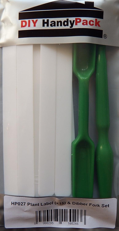DIY HandyPack - 15cm White Plant Labels (15 Pk) & Fork Dibber Set DIY Trade Supplies