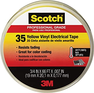 product image for Scotch #35 Vinyl Electrical Tape, 10844-DL-5, 3/4 in x 66 ft, Yellow