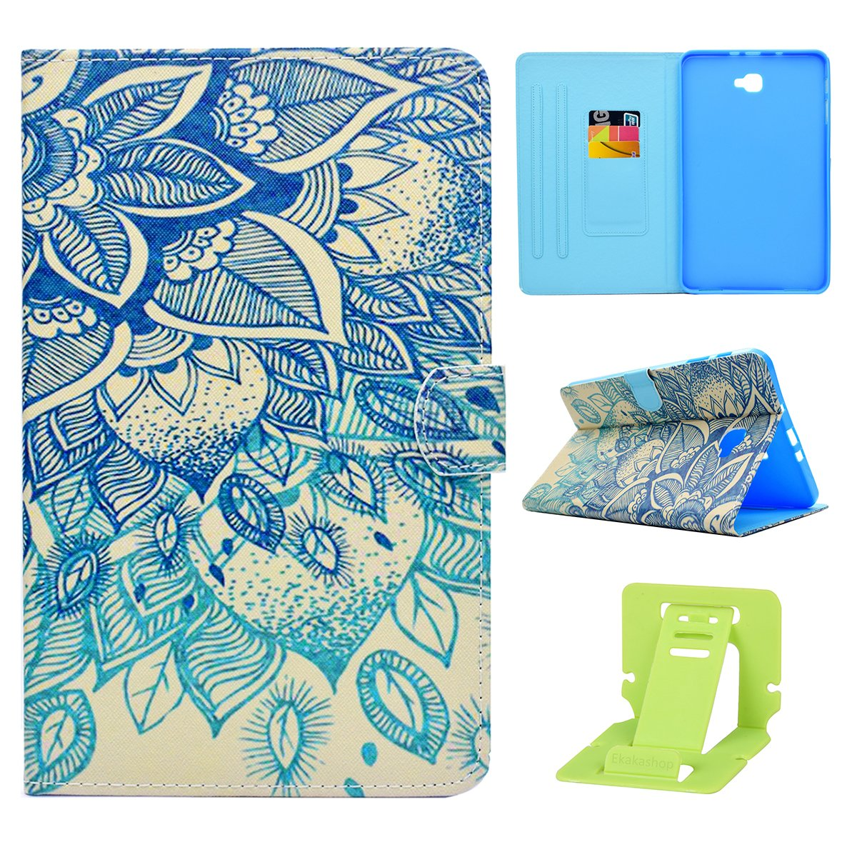 "Custodia Progettato per Samsung Galaxy Tab A 10.1, Galaxy Tab A 10.1"" SM-T580N/SM-T585N Cover Portafoglio, Ekakashop Ultra Slim Tavoletta PU Custodia in pelle Colorate Pattern Borsa Wallet Flip Folio Stand Case Cover Custodia per Samsung Galaxy Tab A 10.1"